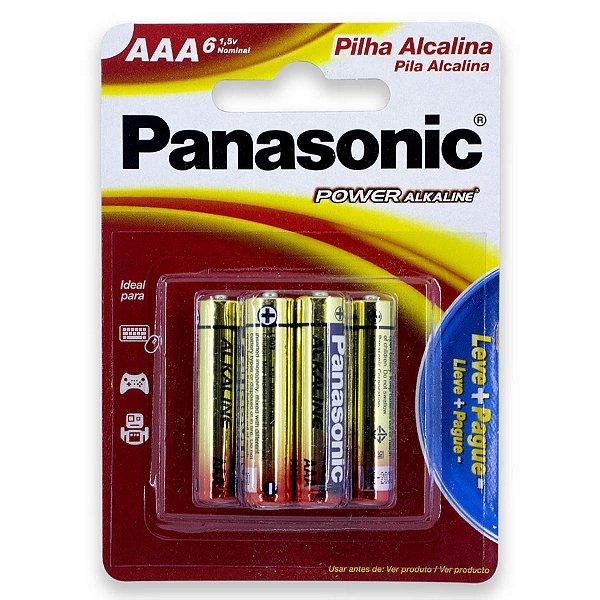 06 Pilhas AAA Palito Alcalina Panasonic 1 Cartela
