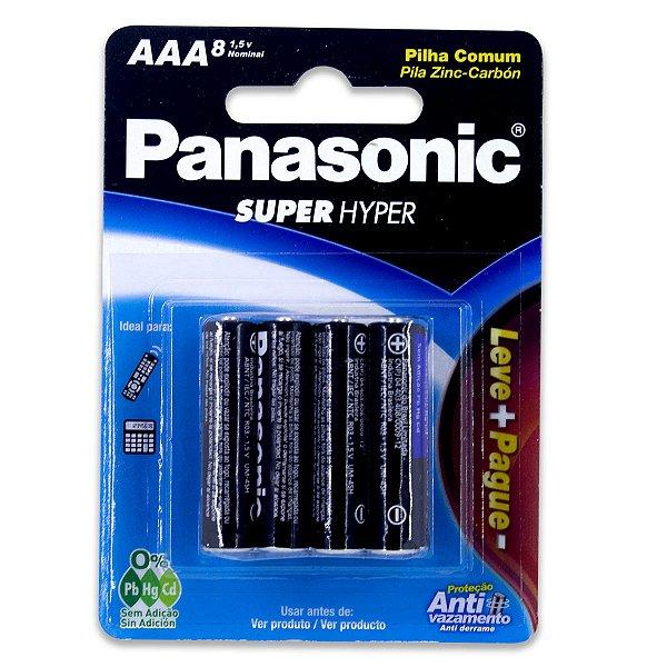 08 Pilhas AAA Palito Comum Zinco Carvão Panasonic 1 Cartela