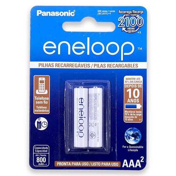 02 Pilhas AAA Eneloop Recarregável Palito 800mah Panasonic 1 Cartela