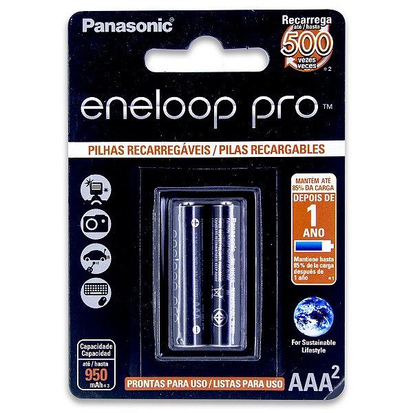 02 Pilhas AAA Eneloop Pro Recarregável Palito 950mah Panasonic