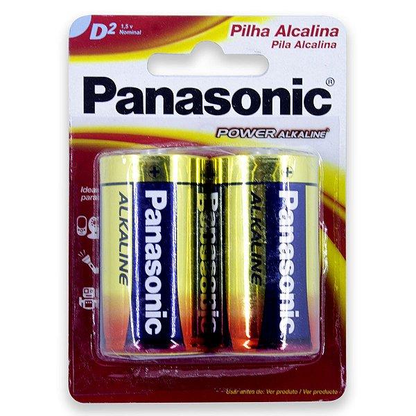 02 Pilhas D Grande Lr20 Alcalina Panasonic 1 Cartela