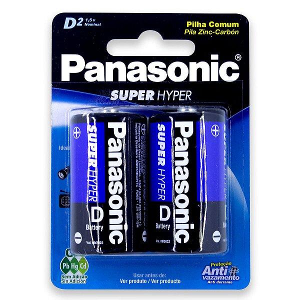 02 Pilhas D Grande Comum Zinco Carvão Panasonic 1 Cartela