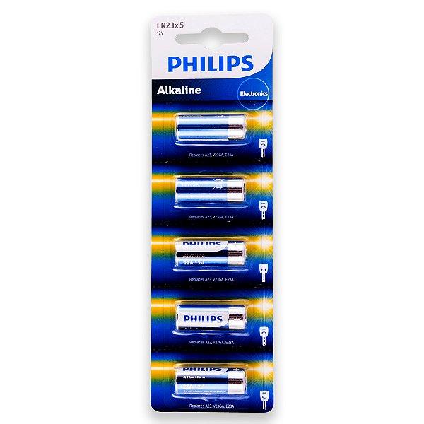 05 Pilhas Baterias Philips 23a 12v A23 Alcalina 1 Cartela