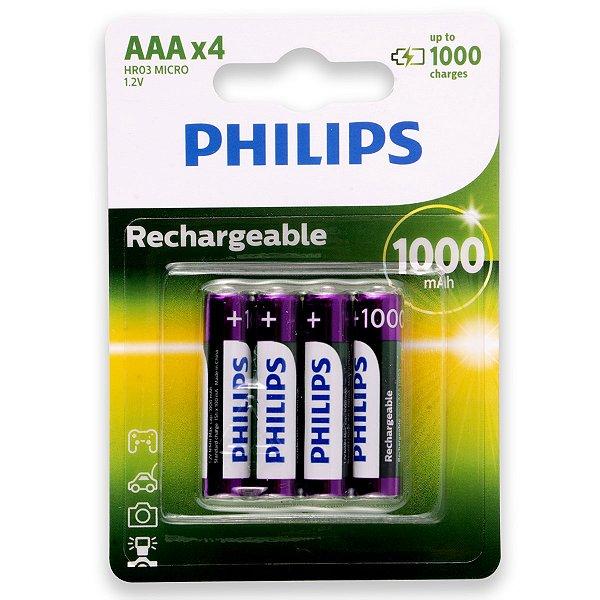 04 Pilhas AAA Recarregável Palito 1000mah Philips 1 Cartela