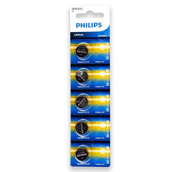 05 Pilhas Philips Cr1616 3v Bateria Original - 01 Cartela