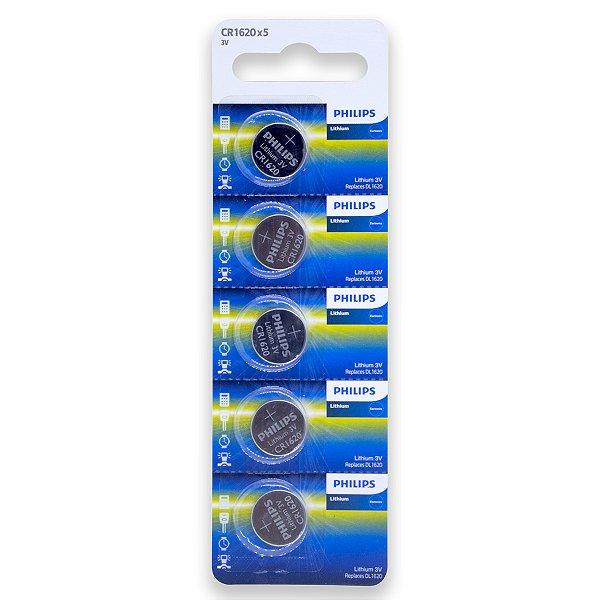05 Pilhas Philips Cr1620 3v Bateria Original - 01 Cartela