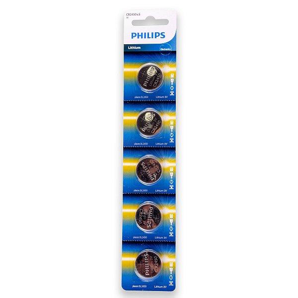 05 Pilhas Philips Cr2450 3v Bateria Original - 01 Cartela