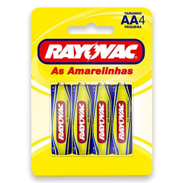 04 Pilhas AA Pequena Comum Zinco Carvão Rayovac 1 Cartela