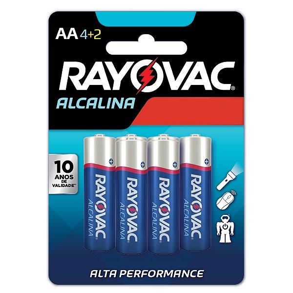 06 Pilhas AA Pequena Alcalina Rayovac 1 Cartela