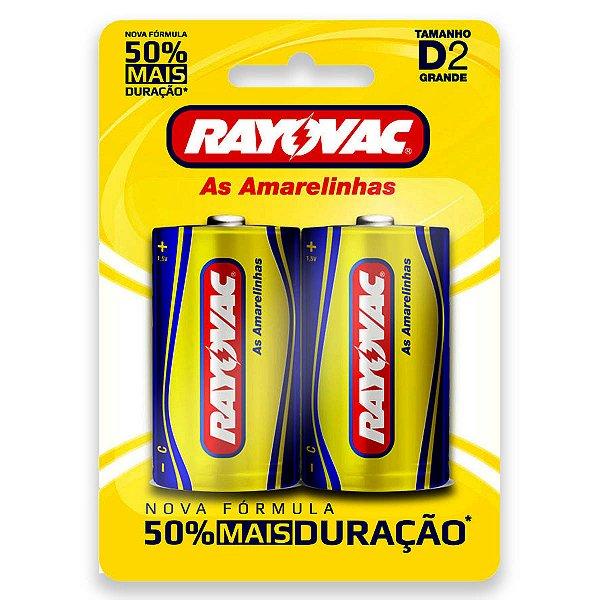 02 Pilhas D Grande Comum Zinco Carvão Rayovac 1 Cartela