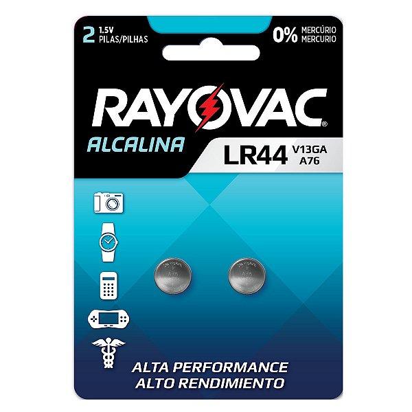 2 Pilhas Baterias Lr44 A76 Ag13 Alcalina Rayovac 1 Cartela