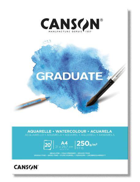 Bloco papel Aquarela A4 Canson Graduate  20 folhas