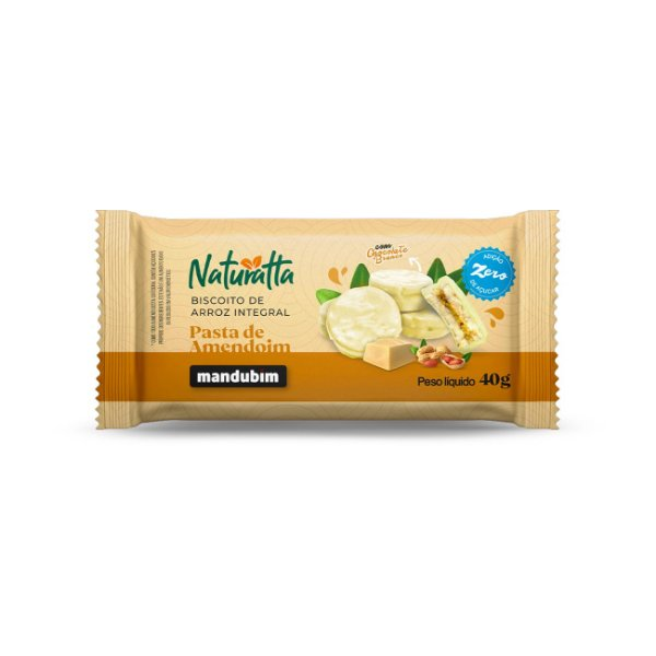Biscoito de Arroz Integral com Pasta de Amendoim e Chocolate Branco 40g