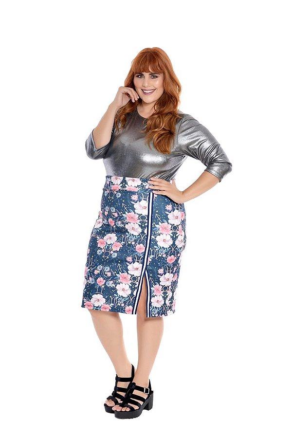 2683a73e2 Saia Plus Size Lápis Floral - zuya+size | Moda Feminina Plus Size