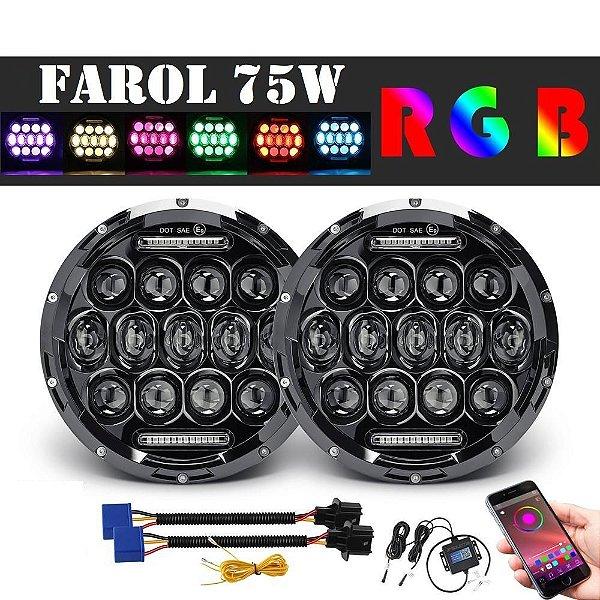 Farol Full Led 75w Rgb Bluetooth