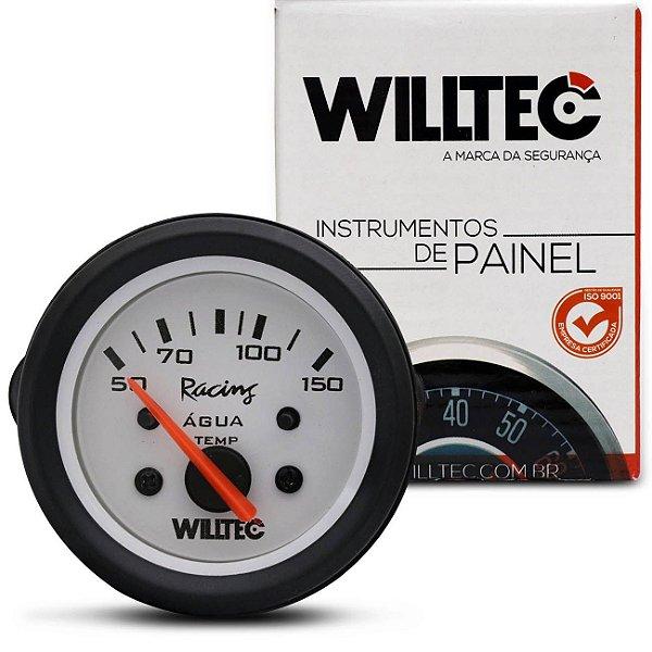 Manômetro Medidor De Temperatura Da Água 150 Graus 12V 52Mm Universal Branco E Alumínio Willtec