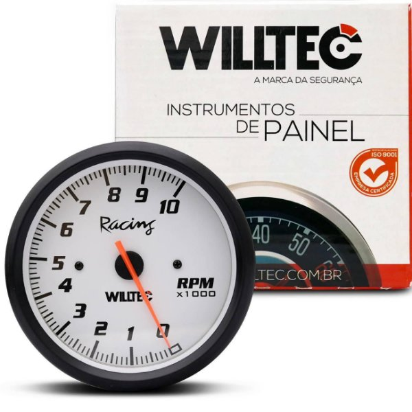 Contagiro Analógico Esportivo 10000 RPM Branco Tuning Universal Willtec