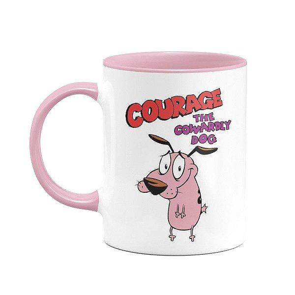 Caneca Cão coragem - B-pink