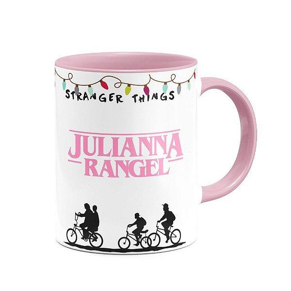 Caneca B-pink Stranger Things com nome personalizado