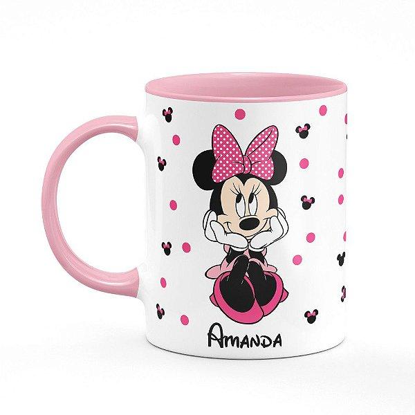 Caneca B-pink Minnie Frente e Verso com nome personalizado