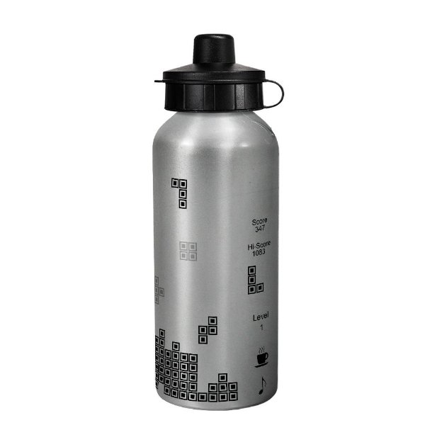 Garrafa gamer prata - Tetris