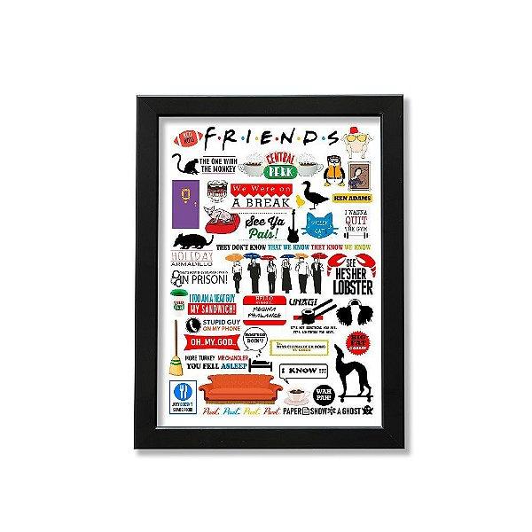 Quadro A4 - Icons Moments Friends Light moldura preta