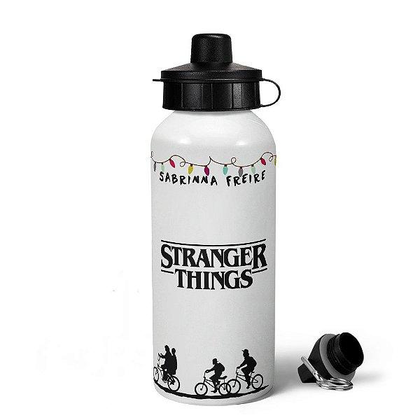 Garrafa MQ Stranger Things com nome personalizado