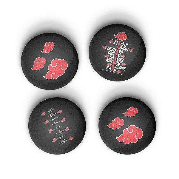Kit Bottons Naruto Akatsuki com 4 unidades