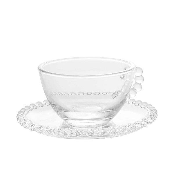 Xícara de Chá em Cristal Pearl com pires redondo180ml