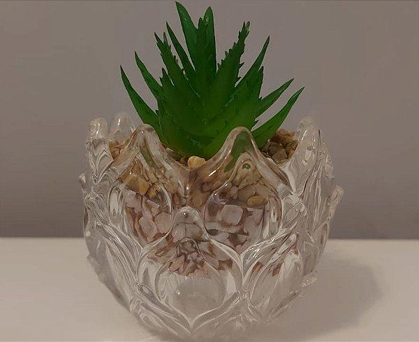 Vasinho de vidro com mini suculenta artificial