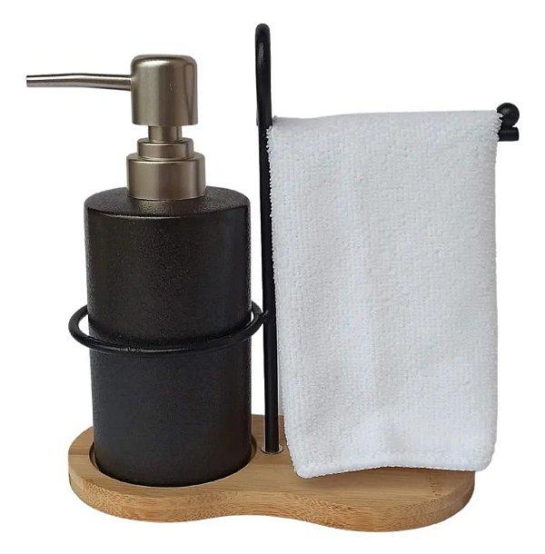 Jogo para banheiro em porcelana com suporte em bambu/metal e toalha