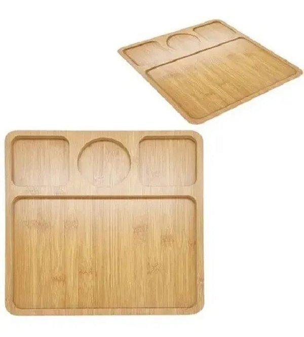 Petisqueira quadrada com 4 divisórias em madeira mdf 30 cm
