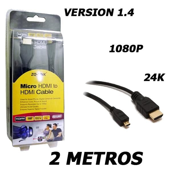 Cabo Micro Hdmi X Hdmi 1.4 Full Hd 1080 C/ 2 Metros Ponta Dourada