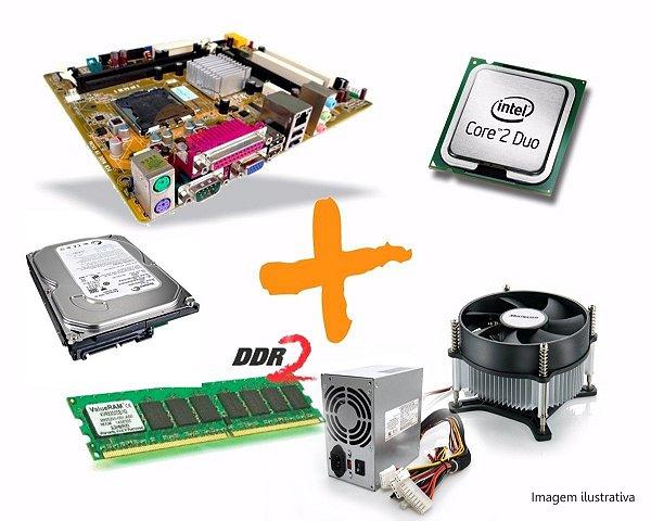 Kit Computador CPU Core 2 Duo + Fonte ATX + HD 500GB + 4Gb Ram