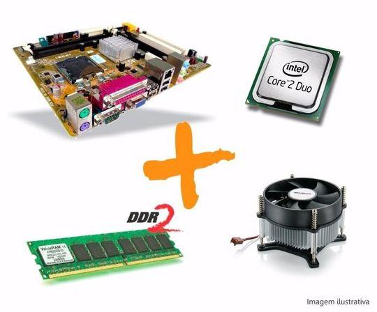 Kit Placa Mãe 775 + Processador Core 2 Duo + 4gb de Memória DDR2 + Cooler
