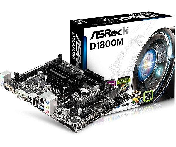 Placa Mãe Com Processador Intel Dual Core AsRock Com HDMI D1800m DDR3 S / V / A