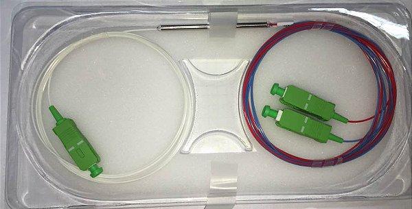 Splitter Fibra Óptica Desbalanceado 1x2 9mm 1.5m Sc-Apc Plc 20-80