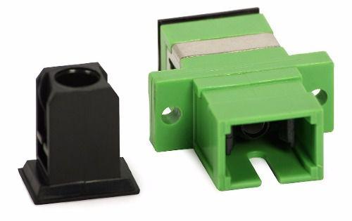 Kit 30 Peças Adaptador Óptico Simplex SM SC/Apc Verde Com Aba