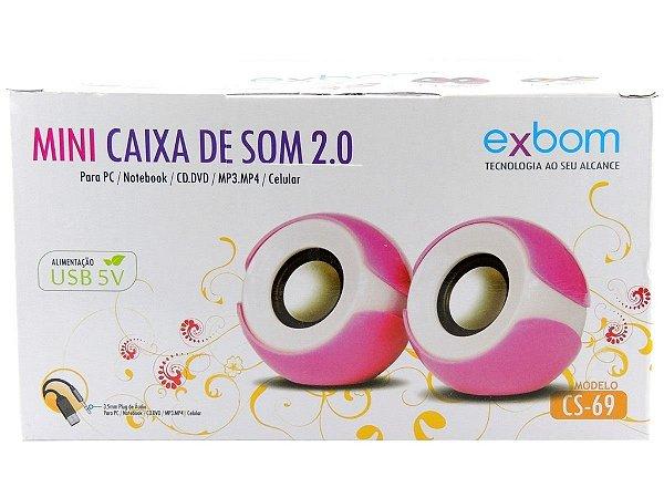Mini Caixa de Som 2.0 Exbom CS-69