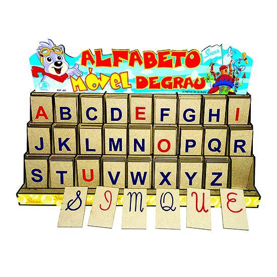 Alfabeto Móvel Degrau com letras de forma cursivas e maiúsculas  (4anos ou+)