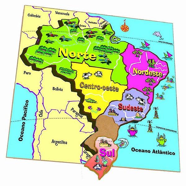 Quebra-Cabeça Mapa Regiões  (7anos ou+)