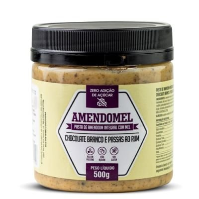 Pasta de Amendoim Amendomel Chocolate Branco Passas ao Rum 500g - Thiani