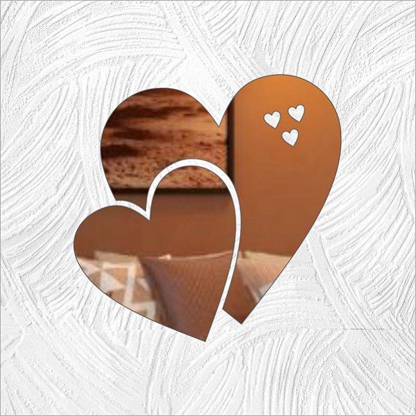 Coração Duplo - Produzido em acrílico espelhado