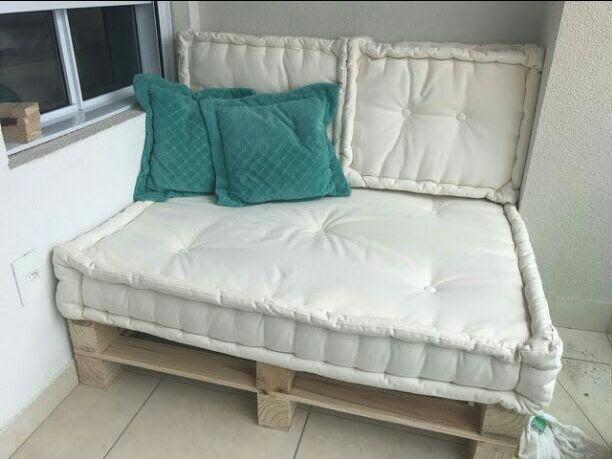 Estofado de futon turco oriental sob medida em sarja para pallet ou móveis de madeira