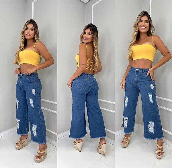 Calça Jeans Pantalona Karina