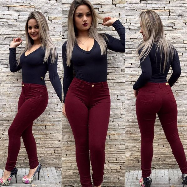 Calça Jeans Color vinho hot pant