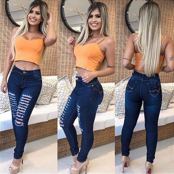 Calça Jeans Rasgadinha azul escura Hot Pant