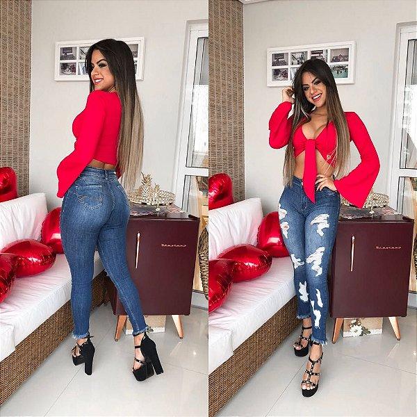 Calça Jeans Destroyed Azul Batido Barra Desfiada