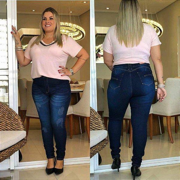 Calça Jeans Plus size Hot Pant Azul Mesclado Escuro Quase Destroyed