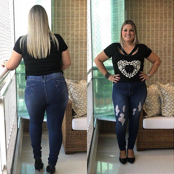 Calça Jeans Plus size Destroyed Hot Pant